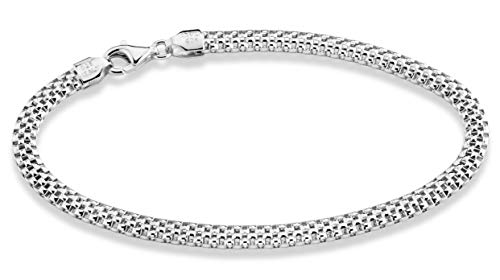 MiaBella 925 Sterling Silver Italian 4mm Mesh Link Chain Bracelet for Women Girls 6.5