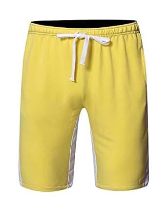 FSSE Men Loose Running Color Block Drawstring Casual Sport Athletic Shorts Yellow L