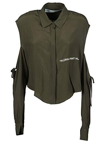 6e140d3a64a42 Mujer Owga041r187470284301 white Verde Off Acetato Camisa 50Rw1x1qO