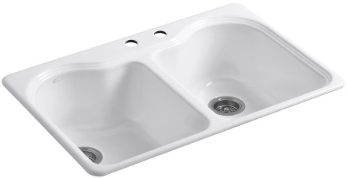 Kohler K-5818-2-0 Hartland Self-Rimming Kitchen Sink with Two-Hole Faucet Drilling, White