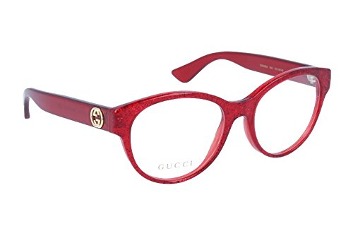Gucci GG0039O Optical Frame 004 Red Red Transparent 52 - Red Gucci Shades