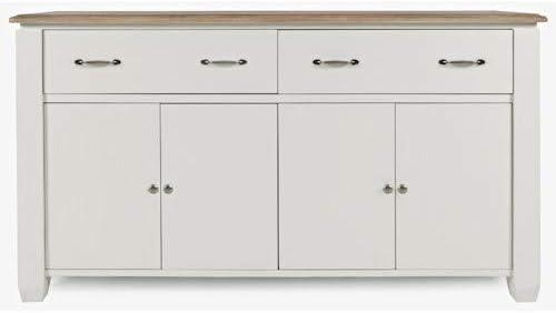 Jofran Dana Point 2 Drawers, 4 Doors Sideboard Buffet Server, Vintage White