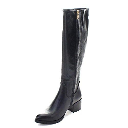 Dbdk Doce-1 Mujeres Pointed Toe Side Zip Botas De Montar Altas Chunky Riding, Color: Negro, Tamaño: 5.5