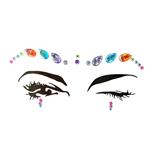 Botrong Face Gems Adhesive Glitter Jewel Tattoo Wedding Festival Rave Party Body Make Up (C)