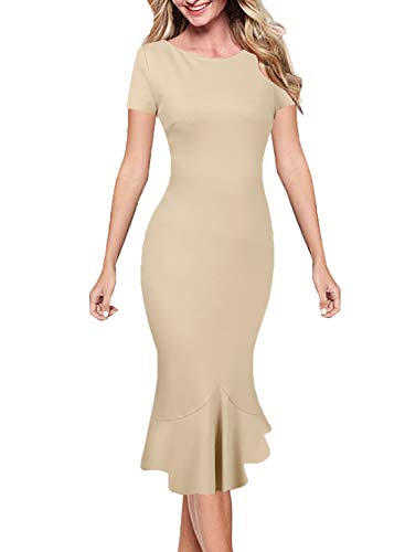 VFSHOW Womens Beige Elegant Vintage Cocktail Party Bodycon Pencil Mermaid Midi Mid-Calf Dress 3335 APT L