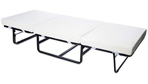 Milliard Folding Bed Ottoman Single Size with Grey Suede Cover, Guest Hideaway 30x78 Bed, Dual Use, No Assembly Required
