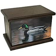 Pintail Drake Cremation Urn, Wood Funeral Urn, Duck Wooden Urn with Custom Personalization