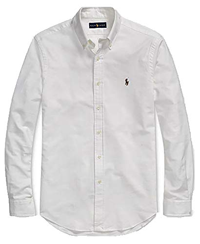 (Polo Ralph Lauren Mens Classic Fit Oxford Longsleeve Buttondown Shirt (Large, White/Multicolored Pony))