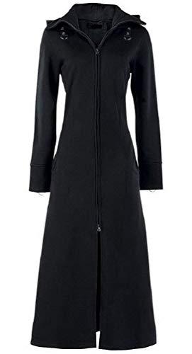 Darkrock Wome's Black Fleece Long Zip Up Hooded Raven Steampunk Coat (XX-Large, Black)