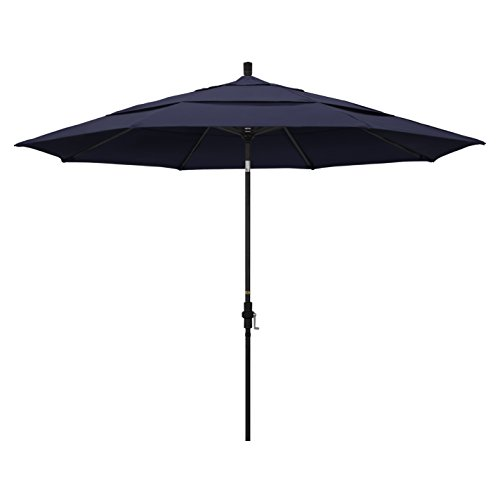 California Umbrella 11' Round Aluminum Market Umbrella, Crank Lift, Collar Tilt, Black Pole, Navy Blue Olefin