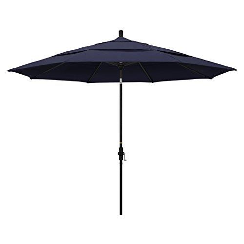 Navy Blue Sunbrella (California Umbrella 11' Round Aluminum Market Umbrella, Crank Lift, Collar Tilt, Black Pole, Navy Blue Olefin)