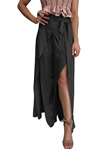 BerryGo Women's Casual High Waist Wide Leg Split Pants Solid-Back-XL