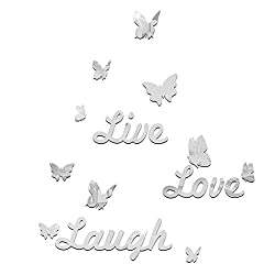 Yattafasion Acrylic Mirror Wall Stickers, Live - Laugh - Love Pattern Removable Acrylic Mirror Setting Wall Sticker Decal DIY Wall Art Decor Home Decoration(Silver,Gold)