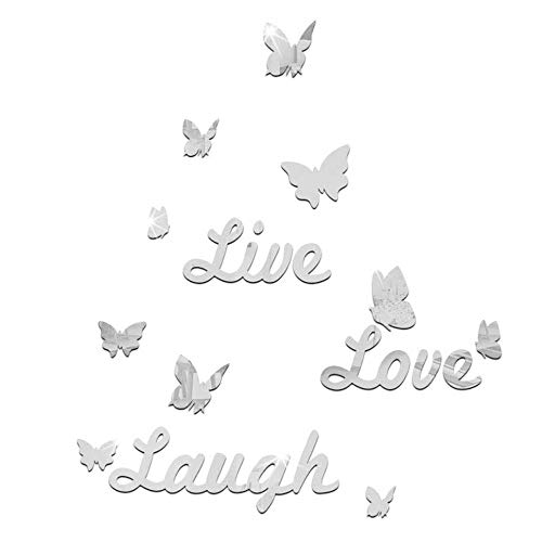 EdC DIY Acrylic Live Laugh Love Quote Wall Stickers, Removable Wallpaper Lovely Wall Decoration Romantic Sweet Cute for Living Room Nursery Kids Bedroom TV Wall Decal Home Art Mural Decor (B, Silver)