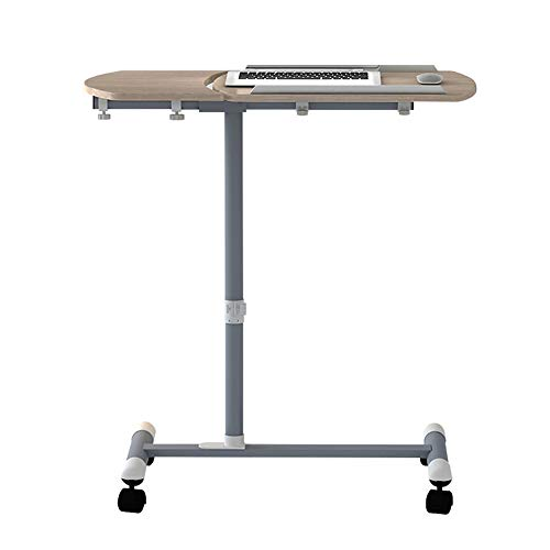 (XIAOYAN End Table Laptop Desk with Mouse Board, Adjustable Laptop Stand, Sit-Stand Desk Cart with Wheels,Chestnut Wood Color Multifunction (Color : Chestnut Wood))