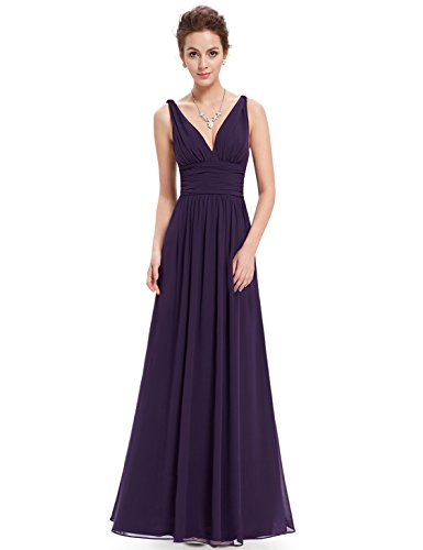Ever-Pretty Womens Floor Length Semi Formal Evening Dress 8 US - Wedding Guest Dress Purple