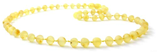 BoutiqueAmber Raw Baltic Amber Necklace - Adult Size (Women and Men) - 19.5 inches (50 cm) - Unpolished Amber Beads (19.5 inches, Lemon)
