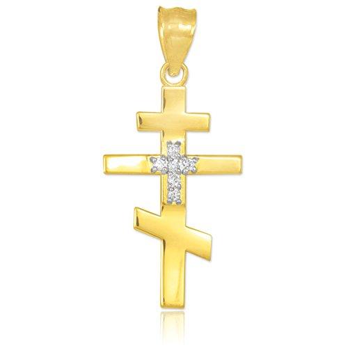 10 ct 471/1000 Diamant decore Or Orthodoxe Russe Croix Pendentif