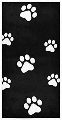 SOMIR Dog Paw White Print Black Soft Fluffy Absorbent Hand Towels Multipurpose for Bathroom, Gym,Office,Hotel,Beach,and Spa(30 X 15 Inch)