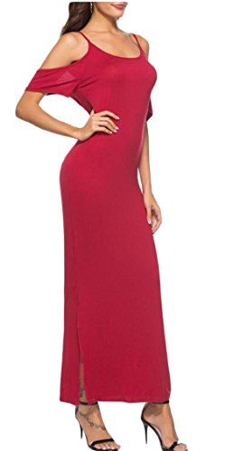 Cold Maxi Straps Spaghetti Dress Red Party Sexy s Wine Jaycargogo Women Shoulder wfqgHH