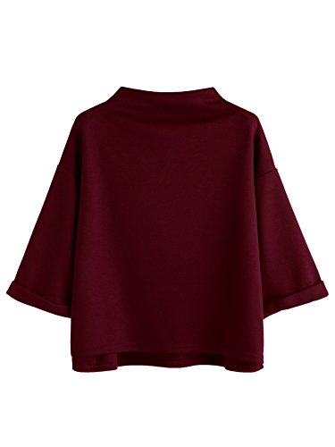 (SweatyRocks Women's 3/4 Sleeve Mock Neck Basic Loose T-Shirt Elegant Blouse Top (Medium, Red))