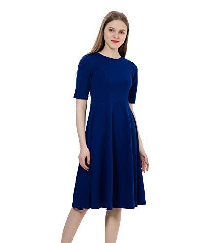 (Dantiya Women's Half Sleeve Elegant Back Zipper A-Line Knee Long Dress Royal Blue, XX-Large)