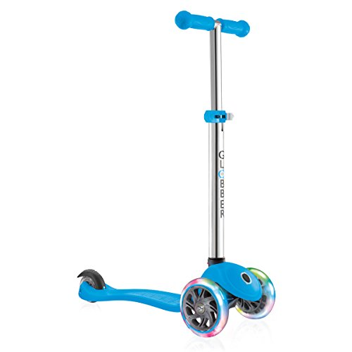 Globber 3 Wheel Adjustable Height Scooter with LED Light Up Wheels (Light Blue/Chrome) (Lights For Scooters)
