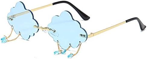 SHIYONG Damen Sonnenbrille Personalisierte randlose Sonnenbrille für Frauen Vintage Retro Brille Weiblich Unisex Steampunk Cloud Style