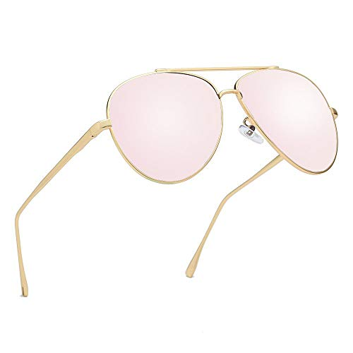 - Premium Military Polarized Aviator Sunglasses Metal Frame Brand Unique Design Sun glasses For Mens Womens 100% UV Protection (Gold Frame/Pink Lens, 58)