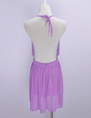 PU&PU Robe Aux femmes Trapèze Sexy , Couleur Pleine Licou Au dessus du genou Polyester , purple-m , purple-m