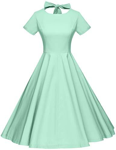 GownTown Womens 1950s Vintage Retro Party Swing Dress Rockabillty Stretchy Dress Mint Green