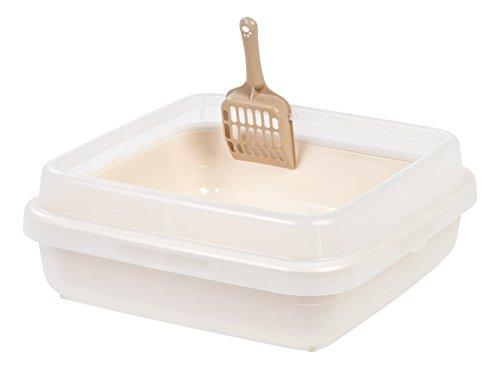 Iris Square Rimmed Cat Litter Pan Set  Brown