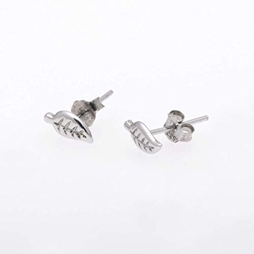 Antiqued 925 Sterling Silver Small Tree Leaf Earring Studs (Leaf Earrings Studs)