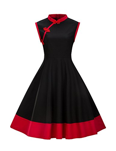 Robe Robe HUINI Rtro Style Femme Vintage Noir sans Manches Amincissante Col Montant Chinois Swing de Soire Robe Crmonie q0O1OB