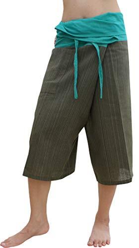 Raan Pah Muang Thin Striped Cotton Two Tone Fisherman Capri Wrap Pants, X-Large, Dark Moss Green/Persian Green