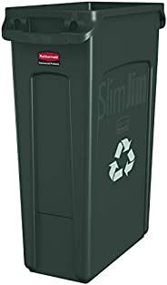 Rubbermaid Commercial Slim Jim Recycling Container with Venting Channels, Plastic, 23 Gallons, Green (354007GN