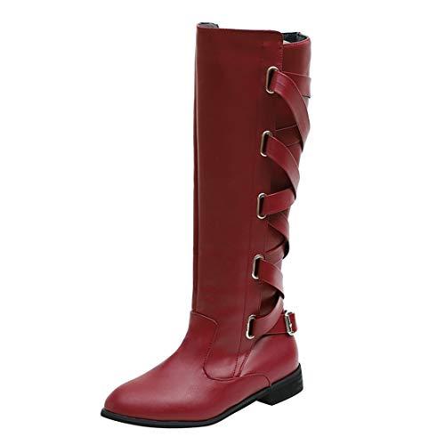 Wine Bringbring Riding Roman Buckle Boots Long Cowboy Womens High Knee qzqwnZ7pA