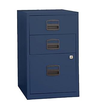 Amazon.com : Bisley Three Drawer Steel Home Filing Cabinet, Navy ...