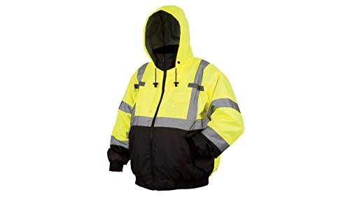 Pyramex RJ3110L Lumen X Class 3 Fleece Bomber Safety Jacket, Large, Hi-Vis Lime