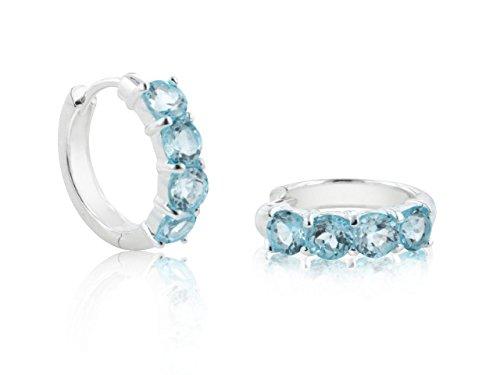 Genuine Sterling Silver 4-Stone Sky Blue Topaz Hoop Earrings