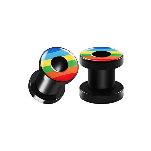 Logo Ear Plug Rings - BIG GAUGES Pair of Black Acrylic 2g Gauge 6mm Flesh Screw-fit Tunnels Rainbow Color Logo Piercing Stretcher Ear Ring Lobe Plugs BG3245