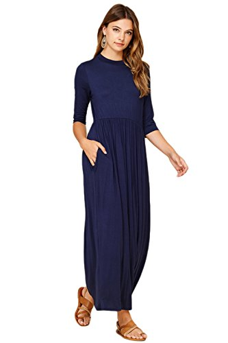 Annabelle Women's 3/4 Sleeve Long Maxi Dresses with Side Pockets X-Large Navy D5185X