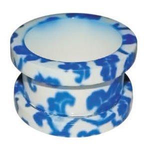 Transfer tunnel#11–floral-bleu/blanc