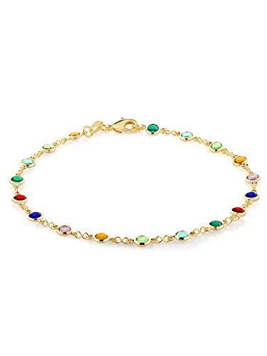 10 Inch Multi-Color Crystal & Gold Plated Brass Anklet Bracelet