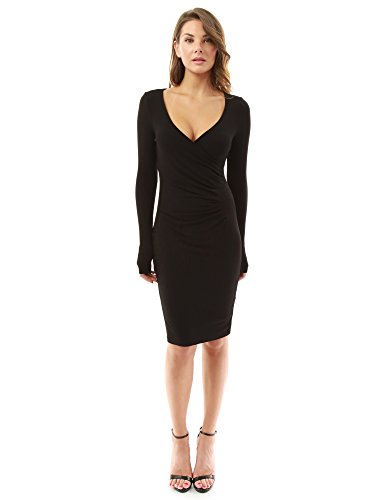 PattyBoutik Women's Crossover V Neck Long Sleeve Dress (Black L)