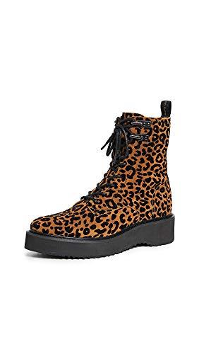 Diane von Furstenberg Women's in Charge Boots, Black Leopard, 7.5 Medium US