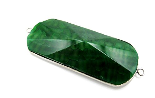 (BRCbeads Nice Agate Pendant Nature Agate Enhance Green Color Faceted Rectangle Shape with Silver Bezel Necklace Charms Two Hook for Jewelry Marking)