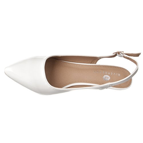 Riverberry Patent Heels Height Bella Pump Low White Back Sling Pointed Toe Women's zPqrwz