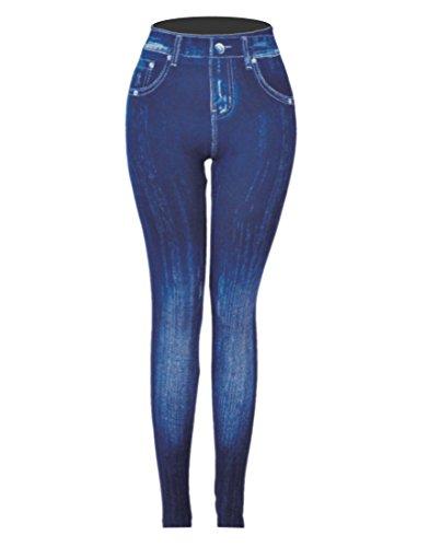 CLOYA Women's Denim Print Fake Jeans Seamless Full Length Leggings (Large/XL, ()