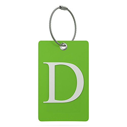 Price comparison product image Luggage Tag Initial – Fully Bendable Tag w / Stainless Steel Loop (Letter D)